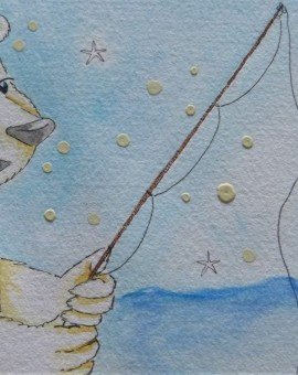 1er plano caña pescar oso polar pescando