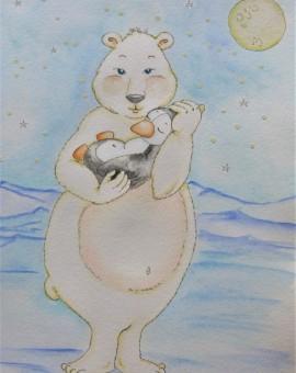 oso polar acunando pingüino