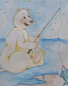 oso polar pescando